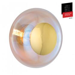 Plafonnier verre soufflé Horizon Nacré Caméléon, diamètre 36 cm, Ebb & Flow, centre métal doré