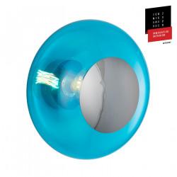 Plafonnier verre soufflé Horizon Bleu Piscine, diamètre 36 cm, Ebb & Flow, centre métal argenté