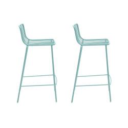Lot de 2 Tabourets hauts métal filaire Nolita 3657, Pedrali bleu azur, hauteur d'assise 65 cm