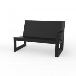 Module gauche pour salon de jardin design Frame, Vondom noir avec coussins en tissu Silvertex