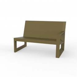 Module gauche pour salon de jardin design Frame, Vondom kaki avec coussins en tissu Silvertex
