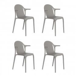 Lot de 4 fauteuils Brooklyn, Vondom Gris tourterelle