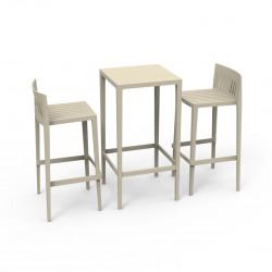 Set Spritz table et 2 tabourets, hauteur d'assise 76cm, Vondom ecru