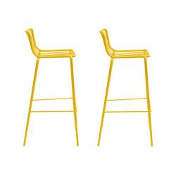 Lot de 2 Tabourets de bar filaires Nolita 3658, Pedrali jaune, hauteur d'assise 75 cm