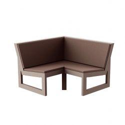 Module d'angle 90° pour canapé angle exterieur Frame, Vondom bronze avec coussins en tissu Silvertex