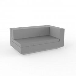 Module gauche XL canapé Vela, Vondom, 160x100xH72cm gris argent