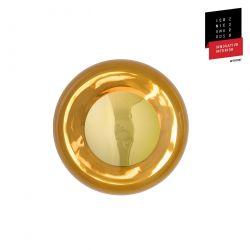 Applique et plafonnier bulle de verre soufflé Horizon Toast, diamètre 21 cm, Ebb & Flow, centre métal doré