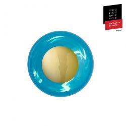 Applique et plafonnier bulle de verre soufflé Horizon Bleu Océan déchainé, diamètre 21 cm, Ebb & Flow, centre métal doré