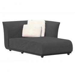 Salon d'été Suave, module chaise longue gauche, Vondom, tissu déperlant Grey 1043