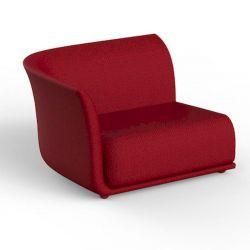Canapé extérieur design Suave, module droit, Vondom, tissu déperlant rouge Grenade 1046