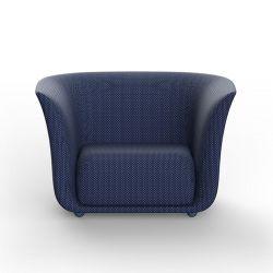 Fauteuil extérieur design Suave, Vondom, tissu déperlant bleu Outre-Mer 1002