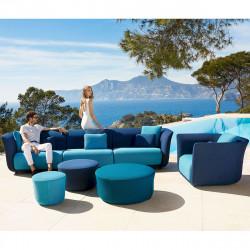 Ensemble salon de jardin modulable Suave, Vondom, tissu déperlant bleu Outre-Mer 1002 et Aquamarina 1003