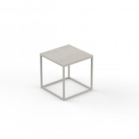 Petite table basse carrée Pixel 40x40xH25cm, Vondom, Dekton Danae écru et pieds écru