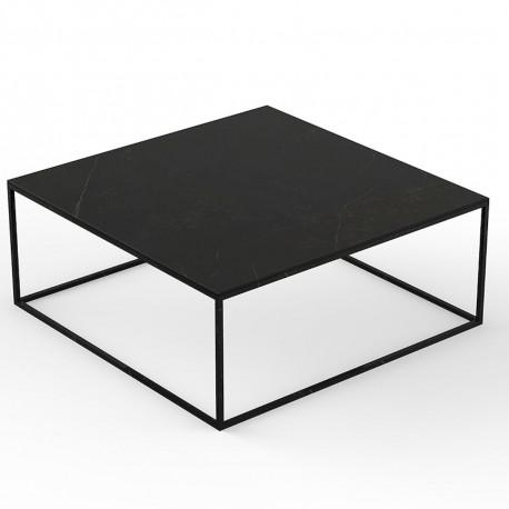 Table basse carrée contemporaine Pixel 100x100xH25cm, Vondom, Dekton Kelya noir et pieds noirs