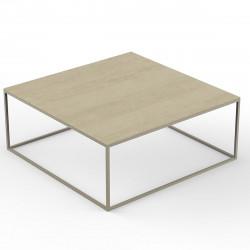 Table basse carrée contemporaine Pixel 100x100xH25cm, Vondom, Dekton Danae écru et pieds écru