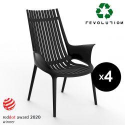 Lot de 4 Fauteuils lounge en plastique recyclé Ibiza Revolution®, Vondom noir Manta 4022