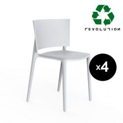 Set de 4 chaises Africa Revolution® en plastique recyclé, Vondom blanc Milos 4023