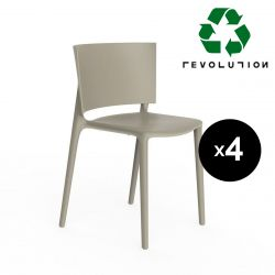 Set de 4 chaises Africa Revolution® en plastique recyclé, Vondom beige Cala 4021