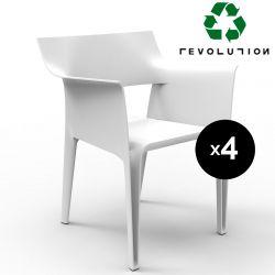 Lot de 4 chaises Pedrera Revolution® en plastique recyclé, Vondom blanc Milos 4023