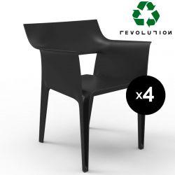 Lot de 4 chaises Pedrera Revolution® en plastique recyclé, Vondom noir Manta 4022