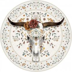 Tapis vinyle rond Buffle, blanc, diamètre 145cm, collection Baba Souk, Pôdevache