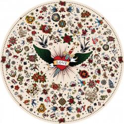 Tapis vinyle rond tatouage Love, beige, diamètre 145cm, collection Tattoo Compris, Pôdevache