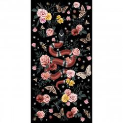 Tapis vinyle serpent fond noir rectangulaire, 99x198cm, collection Tattoo Compris, Pôdevache