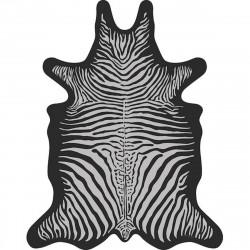 Tapis Zèbre L, gris clair fond noir, vinyle forme peau de bête, 126 x 159 cm, collection Baba Souk, Pôdevache