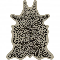 Tapis Léopard fond beige XXL, vinyle forme peau de bête, 198x250cm, collection Baba Souk, Pôdevache