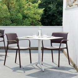 Table carré outdoor Ypsilon, plateau laminé blanc, Pedrali, H74xL89xl89