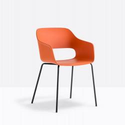 Lot de 4 fauteuils Babila 2735, Pedrali, orange, H79xL53,5xl54