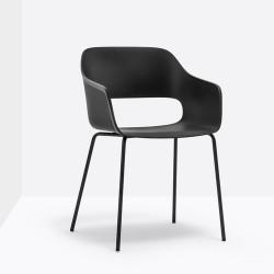 Lot de 4 fauteuils Babila 2735, Pedrali, noir, H79xL53,5xl54
