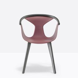 Lot de 2 fauteuils Fox 3725, assise rouge, pieds frêne noir, Pedrali, H79xL60,5xl53