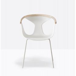 Lot de 2 fauteuils Fox 3726, assise blanche, pieds blanc, Pedrali, H79xL60,5xl53