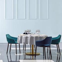 Pied de table Inox 4412, rond, finition laiton, Pedrali