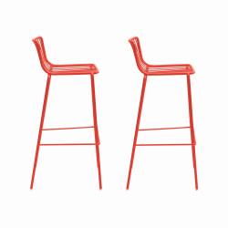 Lot de 2 Tabourets de bar filaires Nolita 3658, Pedrali rouge, hauteur d'assise 75 cm