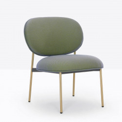 Petit fauteuil design confortable, Blume 2951, Pedrali, tissu Relate Kvadrat, vert sauge, structure laiton, 63x63xH76,5 cm