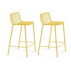 Lot de 2 Tabourets hauts métal filaire Nolita 3657, Pedrali jaune, hauteur d'assise 65 cm