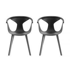 Lot de 2 fauteuils Fox 3725, frêne noir, assise noir, Pedrali