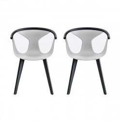 Lot de 2 fauteuils Fox 3725, assise blanche, pieds frêne noir, Pedrali, H79xL60,5xl53