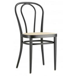 Chaise 218 en bois courbé, Thonet, assise cannée, noir
