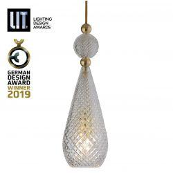 Suspension pendentif verre soufflé Smykke Crystal, diamètre 12,5 cm, Ebb & Flow, accessoires et câble dorés