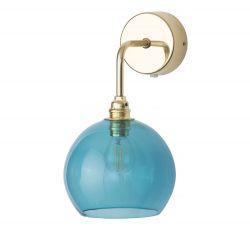 Applique verre soufflé Rowan Bleu ocean déchainé, diamètre 15,5 cm, Ebb & Flow, rosace et bras doré