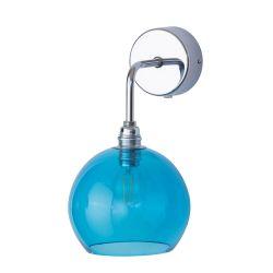 Applique verre soufflé Rowan Bleu piscine, diamètre 15,5 cm, Ebb & Flow, rosace et bras argentés