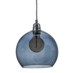 Suspension Rowan Bleu abysse, diamètre 22 cm, Ebb & Flow, douille et câble argenté torsadé