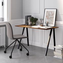 Pack home office Connect Pro bureau pieds noirs plateau noyer et chaise pieds noirs et assise grise Connect Pro, Fornasarig