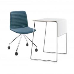 Pack télétravail petit bureau pieds chrome plateau blanc et chaise pivotante pieds chrome assise bleu Link 62 Pro, Fornasarig