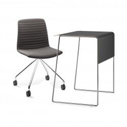 Pack télétravail petit bureau pieds chrome plateau noir et chaise pivotante pieds chrome assise grise Link 62 Pro, Fornasarig
