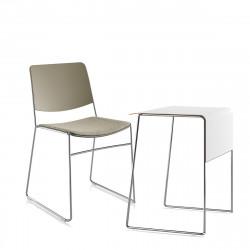 Pack télétravail Link 62, petit bureau pieds chrome, plateau blanc et chaise pieds chrome, assise rembourrée beige, Fornasarig